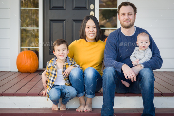 Young Mixed Race Chinese and Caucasian Family Portrait - Stock Photo - Images