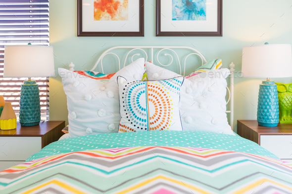 Vibrant Colored Interior Bedroom of House - Stock Photo - Images