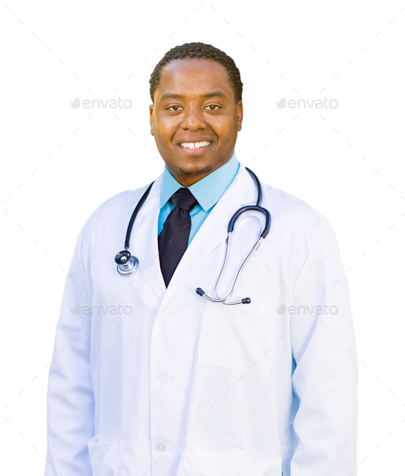 African American Male Doctor Isolated on a White Background - Stock Photo - Images
