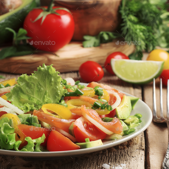Salad with vegetables, avocado, shrimp and trout - Stock Photo - Images
