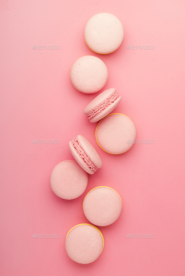Pink macaroons on soft pink background - Stock Photo - Images