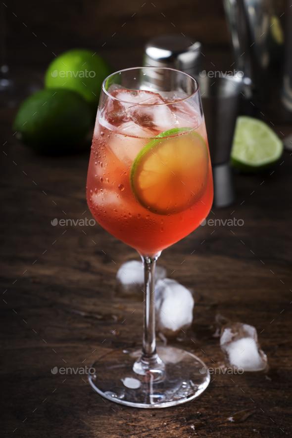 Campari tonic alcohol cocktail - Stock Photo - Images