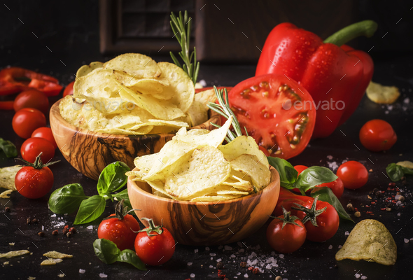 Gold salted potato chips - Stock Photo - Images