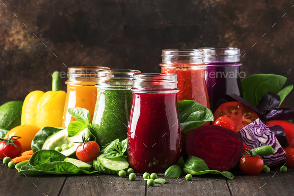 Colorful vegetable juices and smoothies - Stock Photo - Images