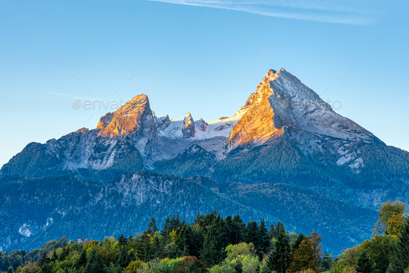 The first sunlight hits the famous Mount Watzmann - Stock Photo - Images