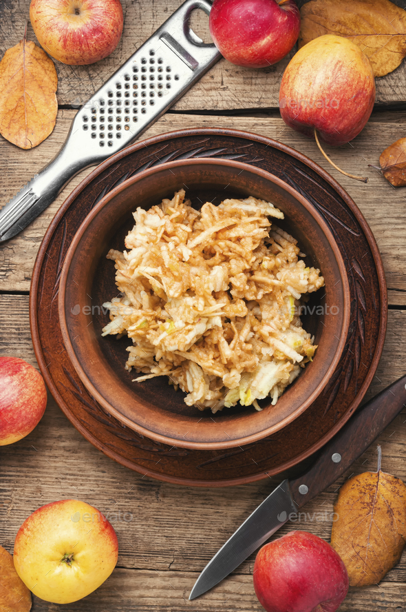 Grated ripe apples - Stock Photo - Images