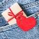 Gift Box with Red Tag in Shape of Heart. - PhotoDune Item for Sale