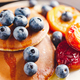 Pancakes with grilled peaches, fresh blueberry - PhotoDune Item for Sale