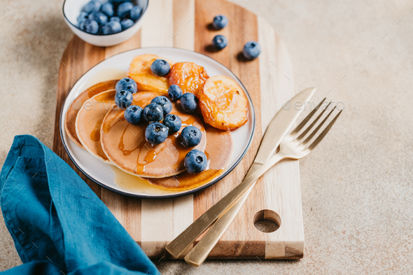 Pancakes with grilled peaches, fresh blueberry - Stock Photo - Images