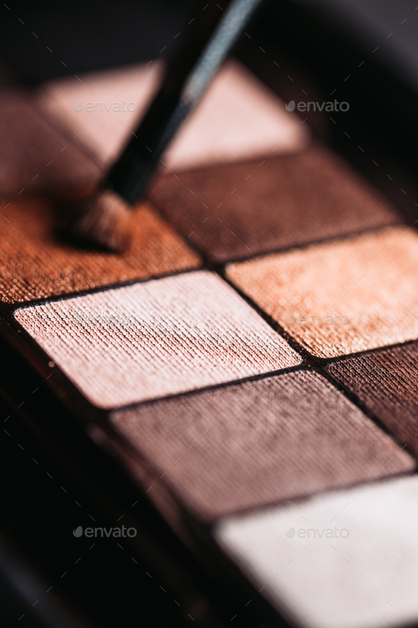 Set of nude mineral eyeshadow in a palette - Stock Photo - Images