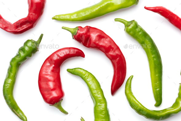 Red and green chilli peppers - Stock Photo - Images
