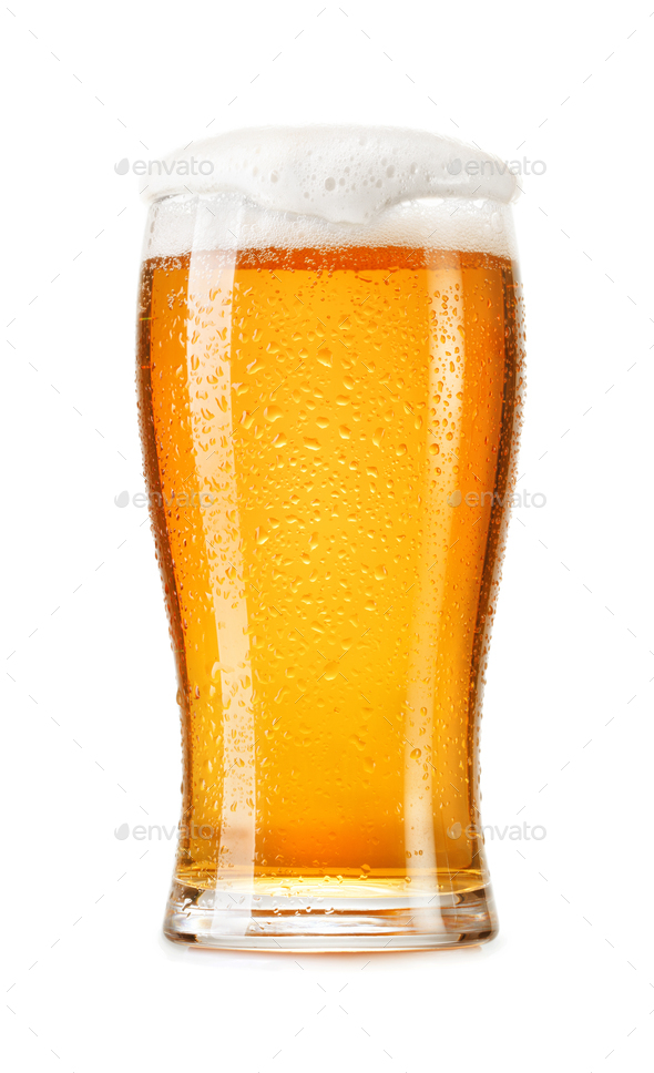 glass of fresh lager beer - Stock Photo - Images
