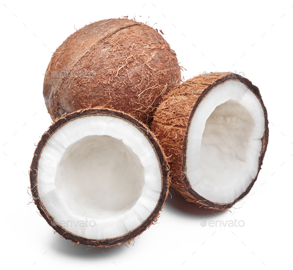 Coconuts on white - Stock Photo - Images