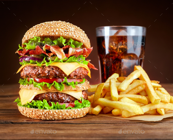 Burger with french fries and cola - Stock Photo - Images