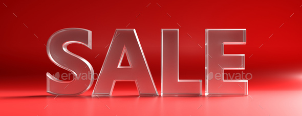 Sale text against red color curved background. 3d illustration - Stock Photo - Images