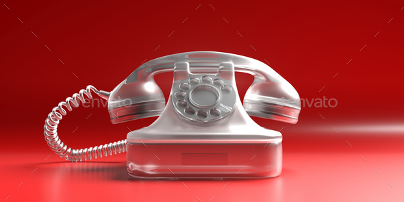 Telephone vintage on red background. 3d illustration - Stock Photo - Images