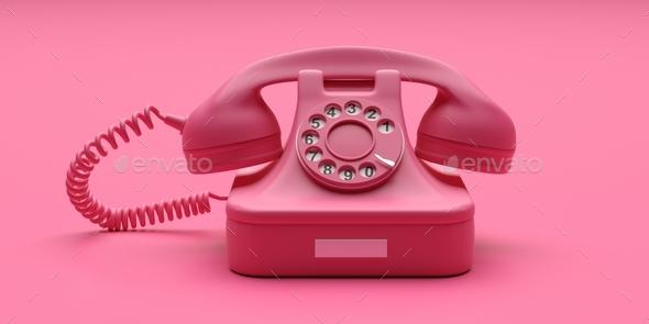 Telephone vintage on pink color background. 3d illustration - Stock Photo - Images