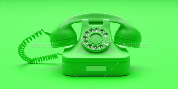 Telephone vintage on green color background. 3d illustration - Stock Photo - Images