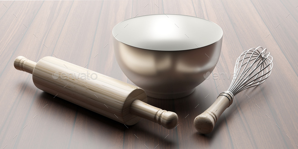 Wire whisk, dough roller and mixing bowl isolated against wooden background, 3d illustration - Stock Photo - Images