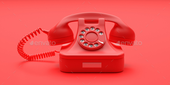 Telephone vintage on red color background. 3d illustration - Stock Photo - Images