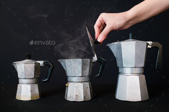 Fresh coffee made in classic coffee maker - Stock Photo - Images