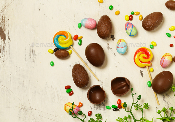 Chocolate Eggs for Easter Decoration - Stock Photo - Images