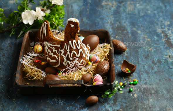 Chocolate Easter Cake Chicken - Stock Photo - Images