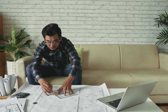 Drawing apartment plan - Stock Photo - Images
