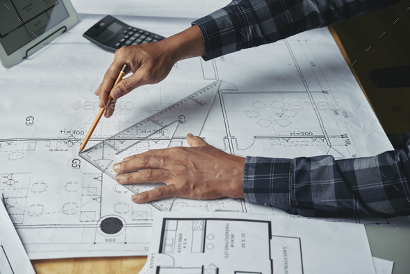 Drawing construction plan - Stock Photo - Images