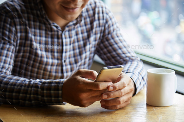Messaging by phone - Stock Photo - Images