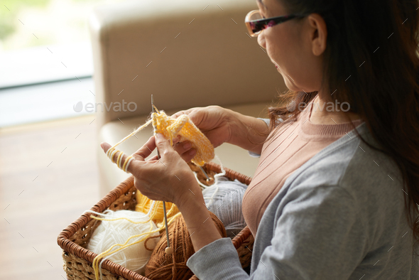 Knitting at home - Stock Photo - Images