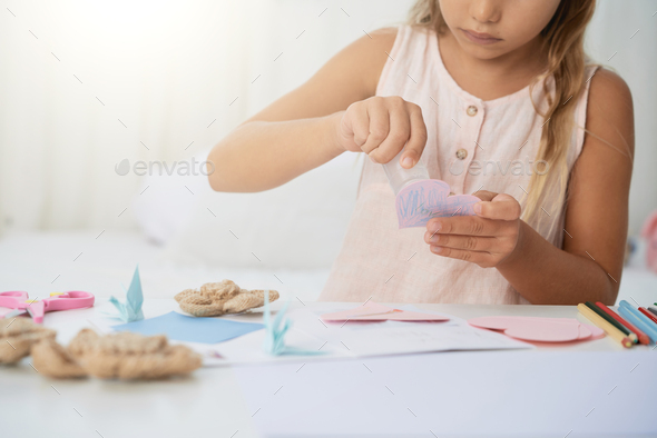 Making Valentines day greeting card - Stock Photo - Images
