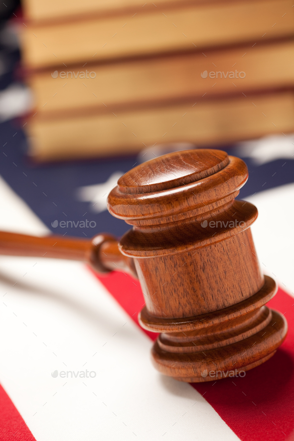 Gavel and Books on Flag - Stock Photo - Images