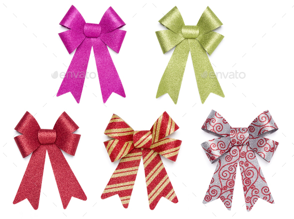Set of Five Multicolored Glitter Bows and Ribbons - Stock Photo - Images