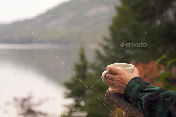 Morning Coffee on the Lake - Stock Photo - Images