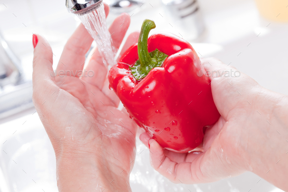 Woman Washing Red Bell Pepper - Stock Photo - Images