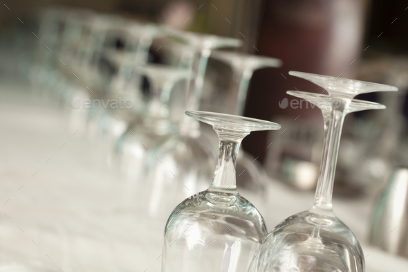 Drinking Glasses Abstract in Formal Dining Room - Stock Photo - Images