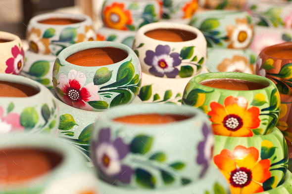 Variety of Colorfully Painted Ceramic Pots. - Stock Photo - Images