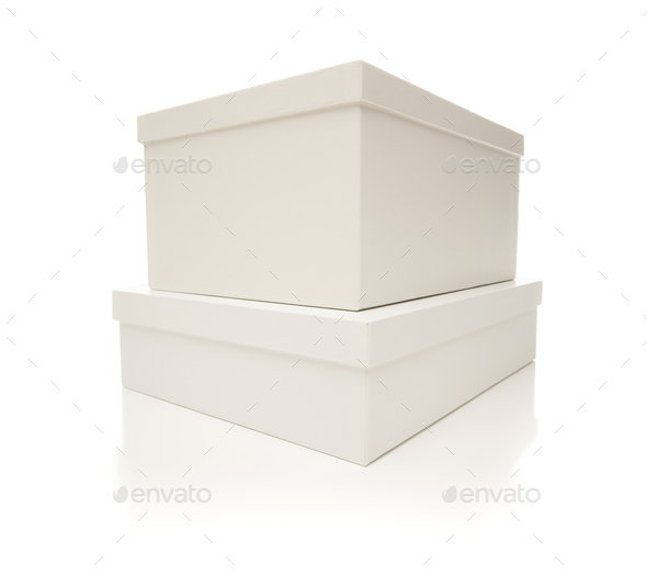 Stacked White Boxes with Lids Isolated on Background - Stock Photo - Images