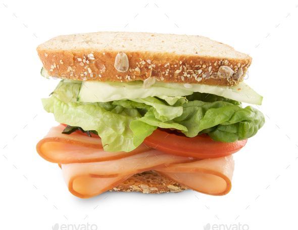 Hearty Sandwich Isolated on White - Stock Photo - Images