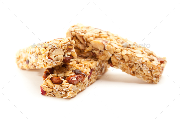 Two Granola Bars Isolated on White - Stock Photo - Images