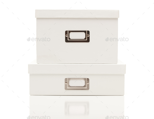 Stacked Blank White File Boxes with Lids on White - Stock Photo - Images