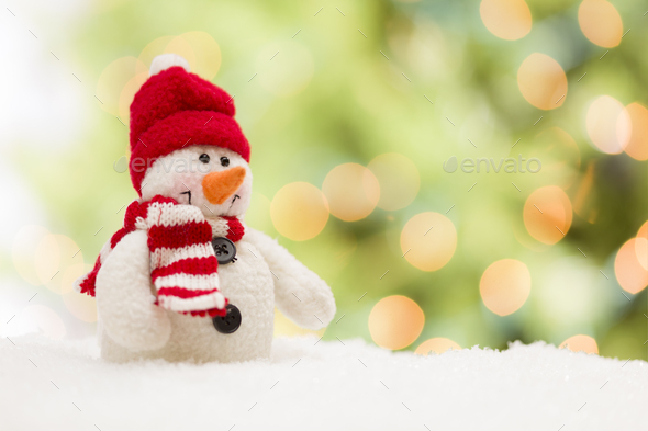 Cute Snowman Over Abstract Background - Stock Photo - Images