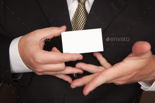 Businessman Holding Blank Business Card - Stock Photo - Images
