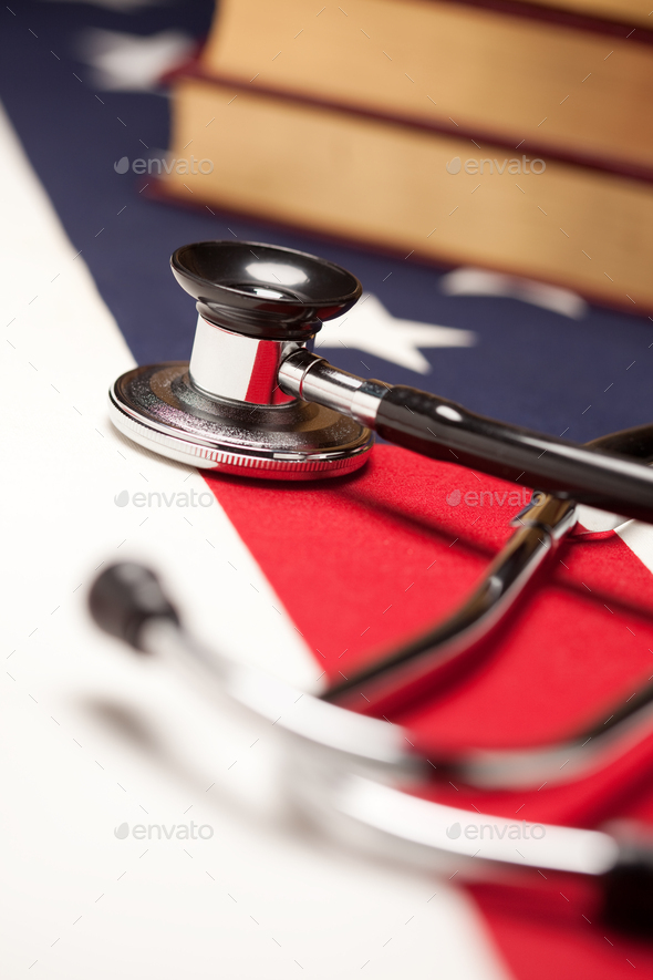 Stethoscope and Books on American Flag - Stock Photo - Images