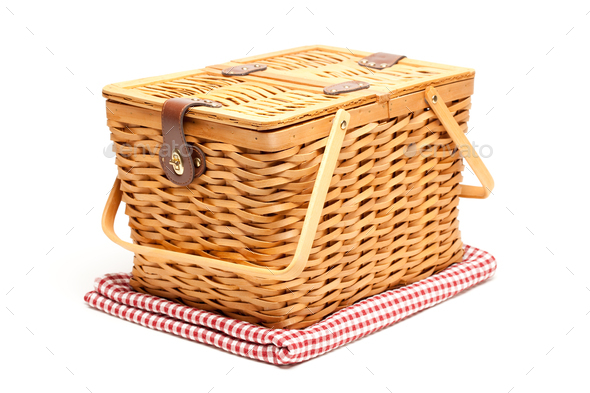 Picnic Basket and Folded Blanket Isolated - Stock Photo - Images