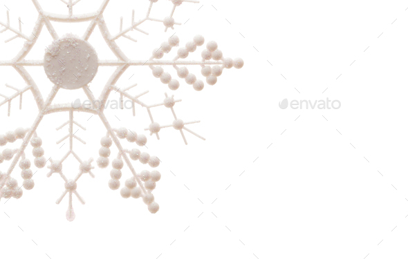 Glittery Snowflake Isolated on White - Stock Photo - Images