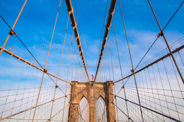 The Brooklyn bridge, New York City, USA - Stock Photo - Images