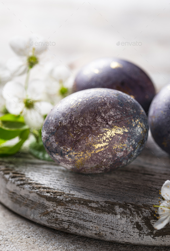 Easter painted eggs with marble effect - Stock Photo - Images