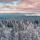 Sunrise Over Snowy Pine Trees. Beautiful Sky and Clouds. Aerial Drone View - PhotoDune Item for Sale